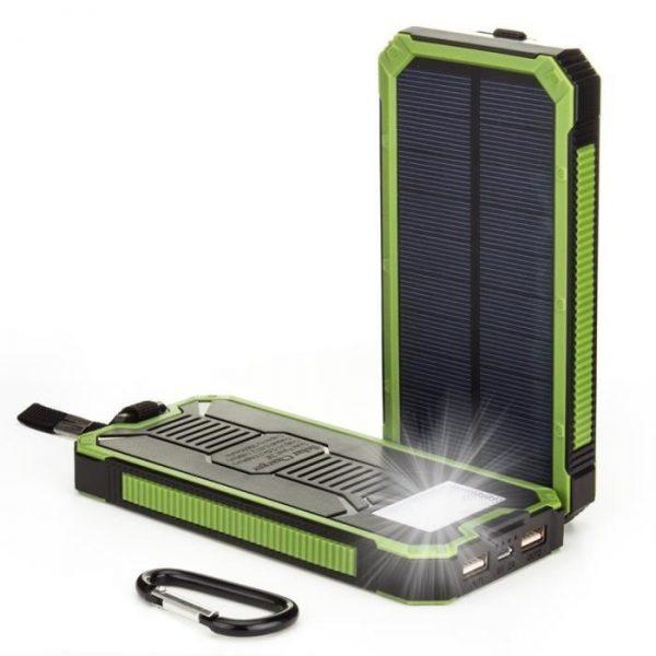 Chargeur de Batterie Solaire Power Bank chargeur de Secours Portable Batterie Externe Etanche avec 8 LED Double USB